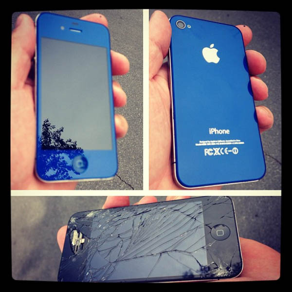 iPhone Screen Repair and Custom Blue Case